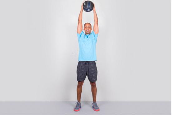 shoulder press with medicine ball 2